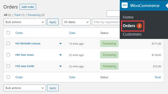 Örnek siparişlerinizi WooCommerce'da görüntüleme