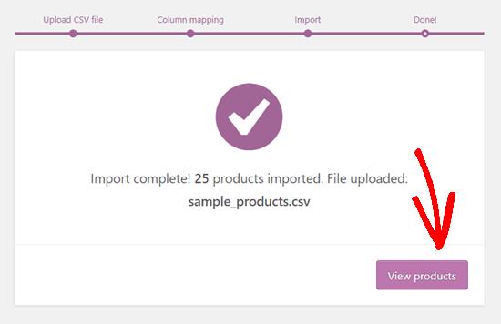 WooCommerce ürün içe aktarmanın tamamlandığını gösteren mesaj