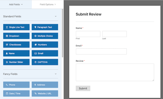 WP Forms sürükle ve bırak düzenleyicisi