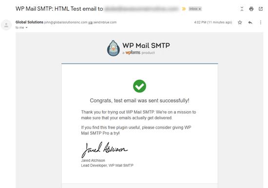 Gelen kutumuzdaki WP Mail SMTP'den gelen test e-postası