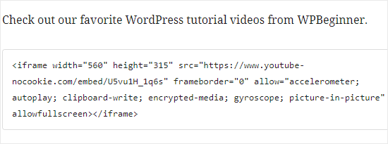 YouTube HTML kodunu iFrame bloğuna yapıştırma