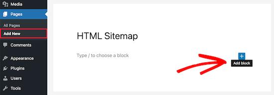 HTML site haritası için yeni blok ekle