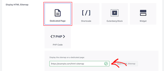 HTML site haritası sayfası için URL girin