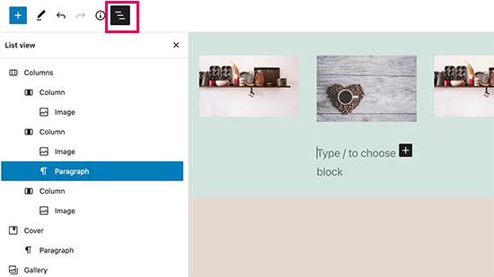 WordPress 5.8'de iyileştirilmiş liste görünümü paneli