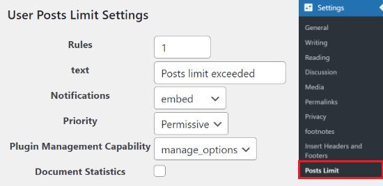 Kullanıcı Gönderileri Sınırı ayarları